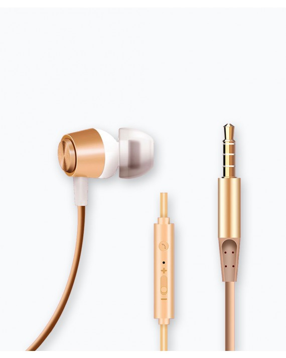 Metal Shell Earphone 1.2M, 3.5mm Gold