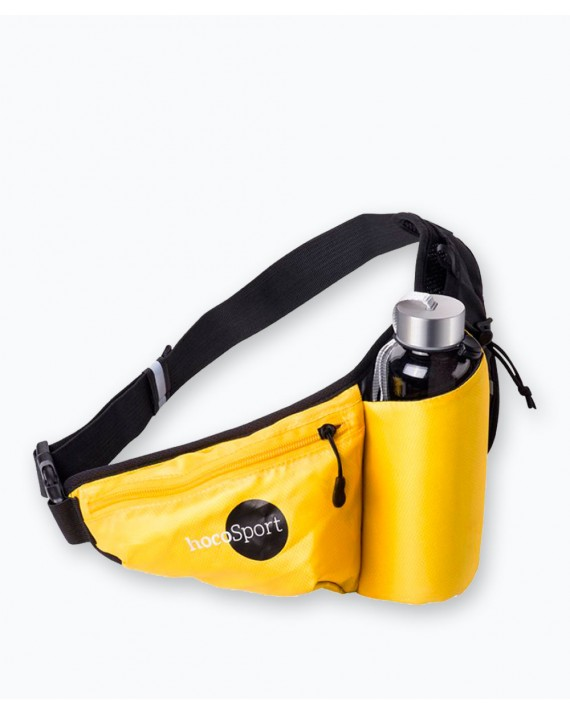 Waist Sports Pouch With Bottle Holder Yellow