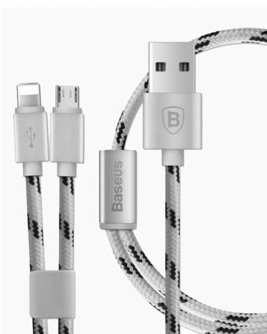 2 in 1 Cable iPhone/iPad+Micro USB 2A Silver