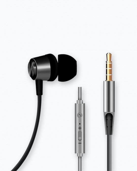 Metal Shell Earphone 1.2M, 3.5mm Black