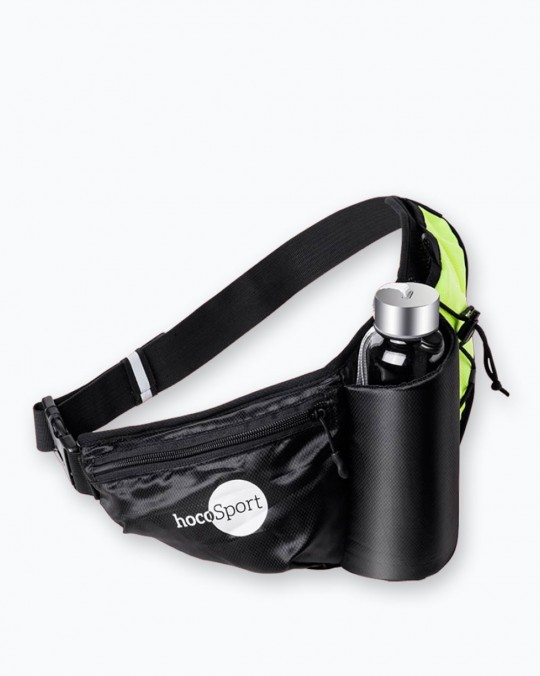 Waist Sports Pouch With Bottle Holder Black